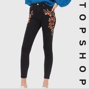 TOPSHOP Moto Jaime Floral Embroidered Jeans